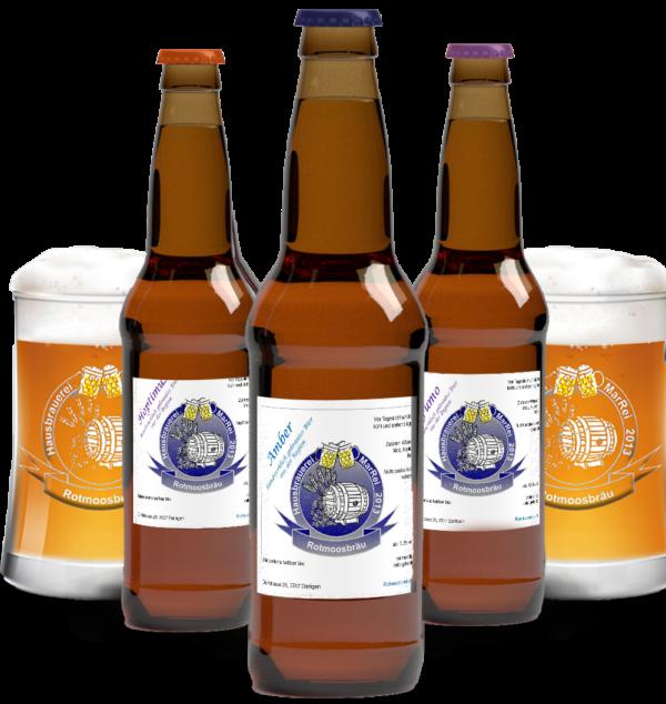 Bierflaschen und Gläser