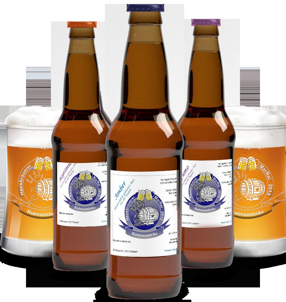 Bierflaschen und biergläser